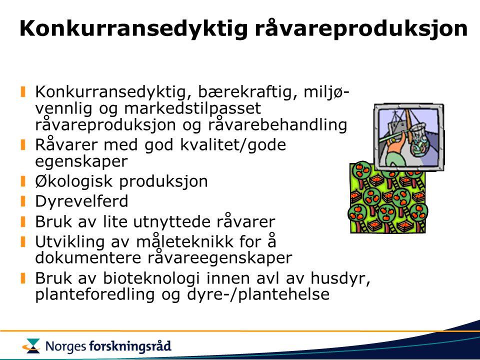 Konkurransedyktig råvareproduksjon Konkurransedyktig, bærekraftig, miljø- vennlig og markedstilpasset råvareproduksjon og råvarebehandling Råvarer med