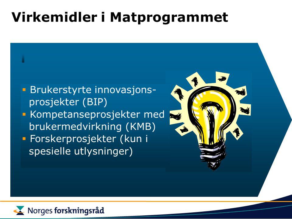 """Virkemidler i Matprogrammet BIP – Brukerstyrte Innovasjonsprosjekter Formål """"Utløse FoU-aktivitet i næringslivet som spesielt bidrar til innovasjon og"""