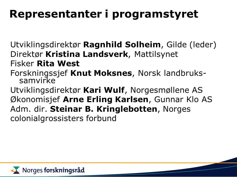 Representanter i programstyret Utviklingsdirektør Ragnhild Solheim, Gilde (leder) Direktør Kristina Landsverk, Mattilsynet Fisker Rita West Forsknings
