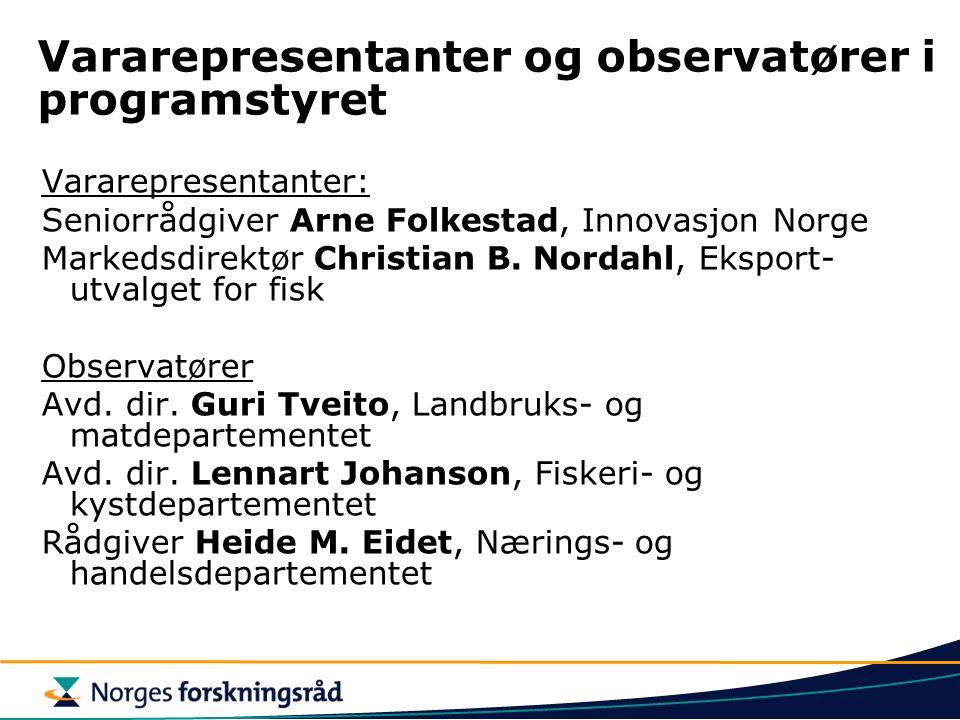 Vararepresentanter og observatører i programstyret Vararepresentanter: Seniorrådgiver Arne Folkestad, Innovasjon Norge Markedsdirektør Christian B. No