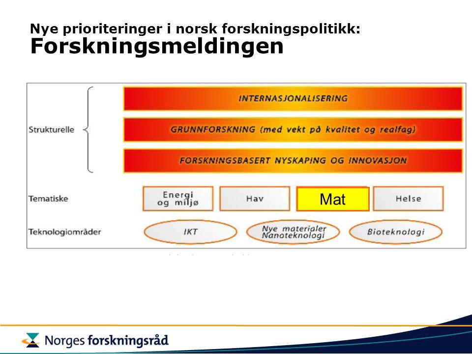 Mat Nye prioriteringer i norsk forskningspolitikk: Forskningsmeldingen
