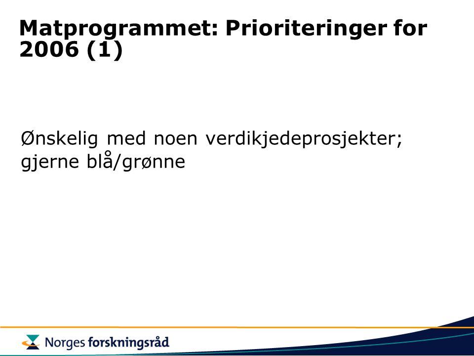 Matprogrammet: Prioriteringer for 2006 (1) Ønskelig med noen verdikjedeprosjekter; gjerne blå/grønne