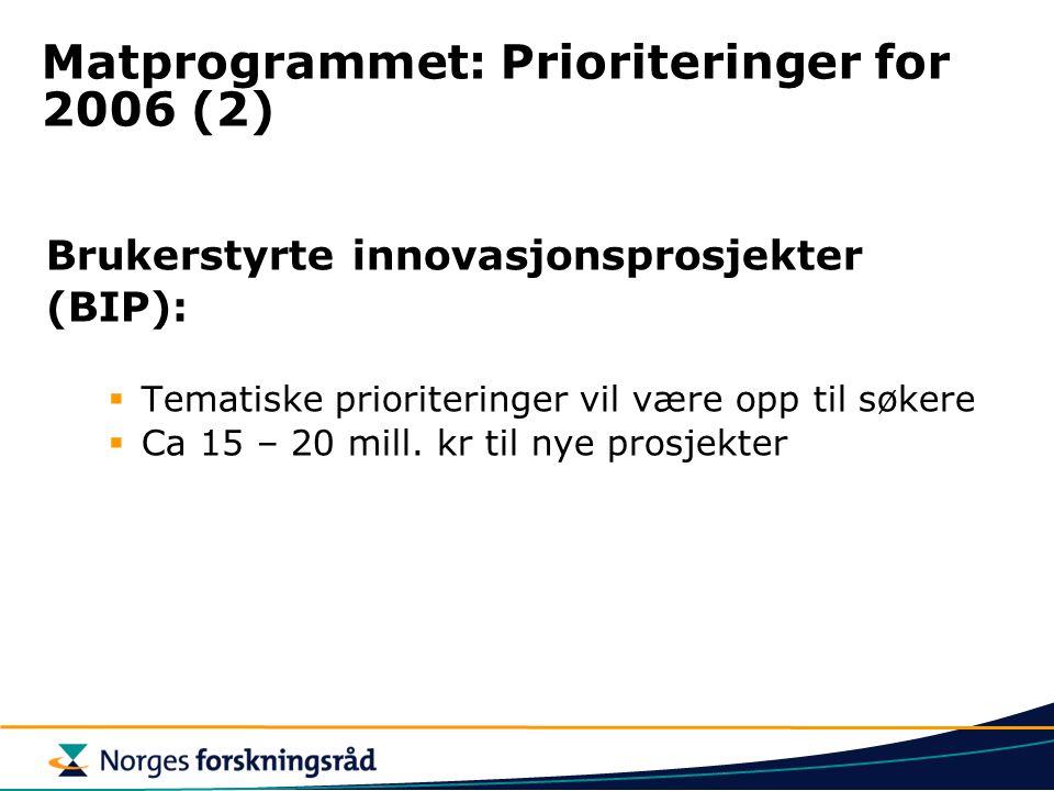 Matprogrammet: Prioriteringer for 2006 (2) Brukerstyrte innovasjonsprosjekter (BIP):  Tematiske prioriteringer vil være opp til søkere  Ca 15 – 20 m
