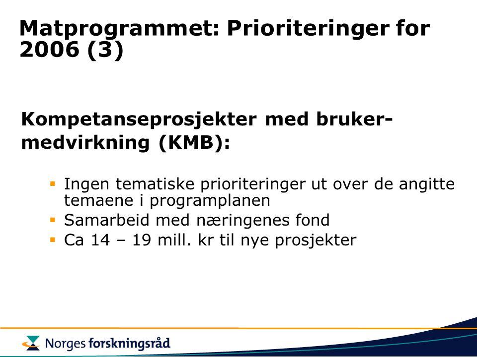 Matprogrammet: Prioriteringer for 2006 (3) Kompetanseprosjekter med bruker- medvirkning (KMB):  Ingen tematiske prioriteringer ut over de angitte tem