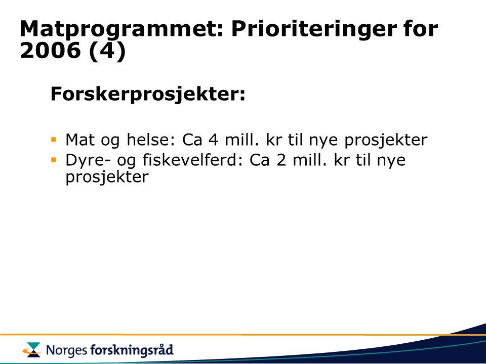 Matprogrammet: Prioriteringer for 2006 (4) Forskerprosjekter:  Mat og helse: Ca 4 mill. kr til nye prosjekter  Dyre- og fiskevelferd: Ca 2 mill. kr