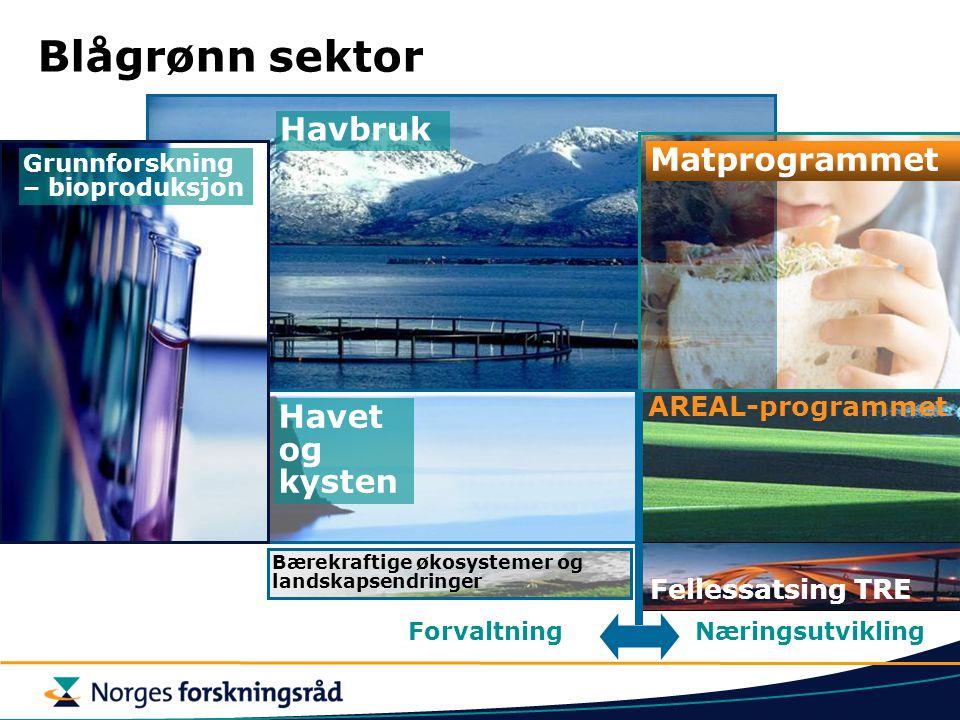 Blågrønn sektor Matprogrammet AREAL-programmet ForvaltningNæringsutvikling Havet og kysten Havbruk Grunnforskning – bioproduksjon Fellessatsing TRE Bæ
