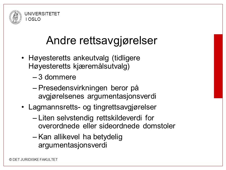 © DET JURIDISKE FAKULTET UNIVERSITETET I OSLO Andre rettsavgjørelser Høyesteretts ankeutvalg (tidligere Høyesteretts kjæremålsutvalg) –3 dommere –Pres