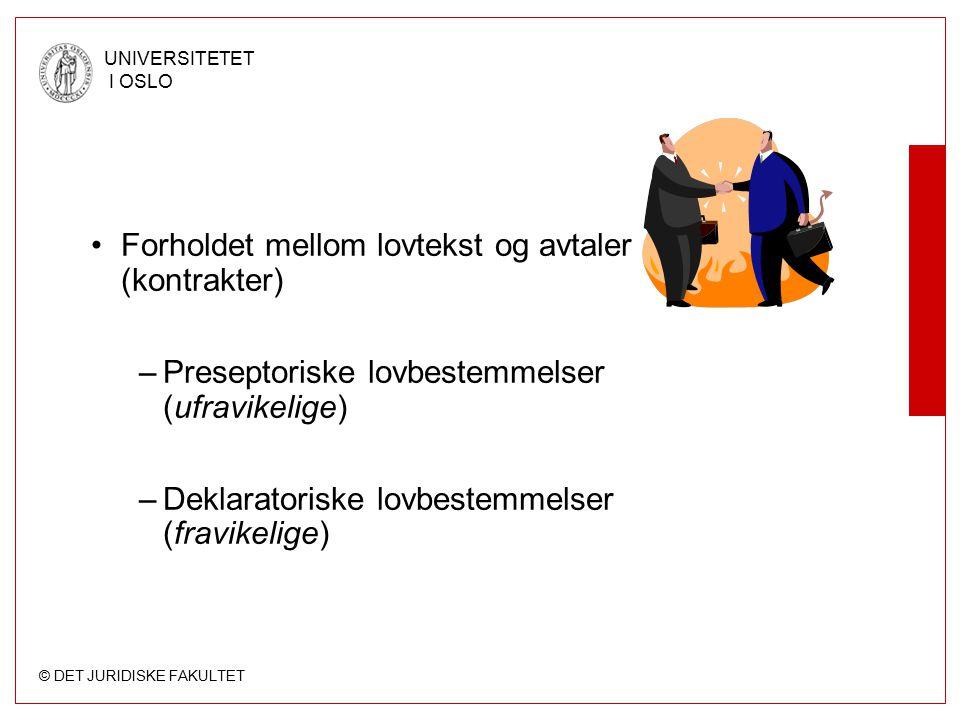 © DET JURIDISKE FAKULTET UNIVERSITETET I OSLO Forholdet mellom lovtekst og avtaler (kontrakter) –Preseptoriske lovbestemmelser (ufravikelige) –Deklara