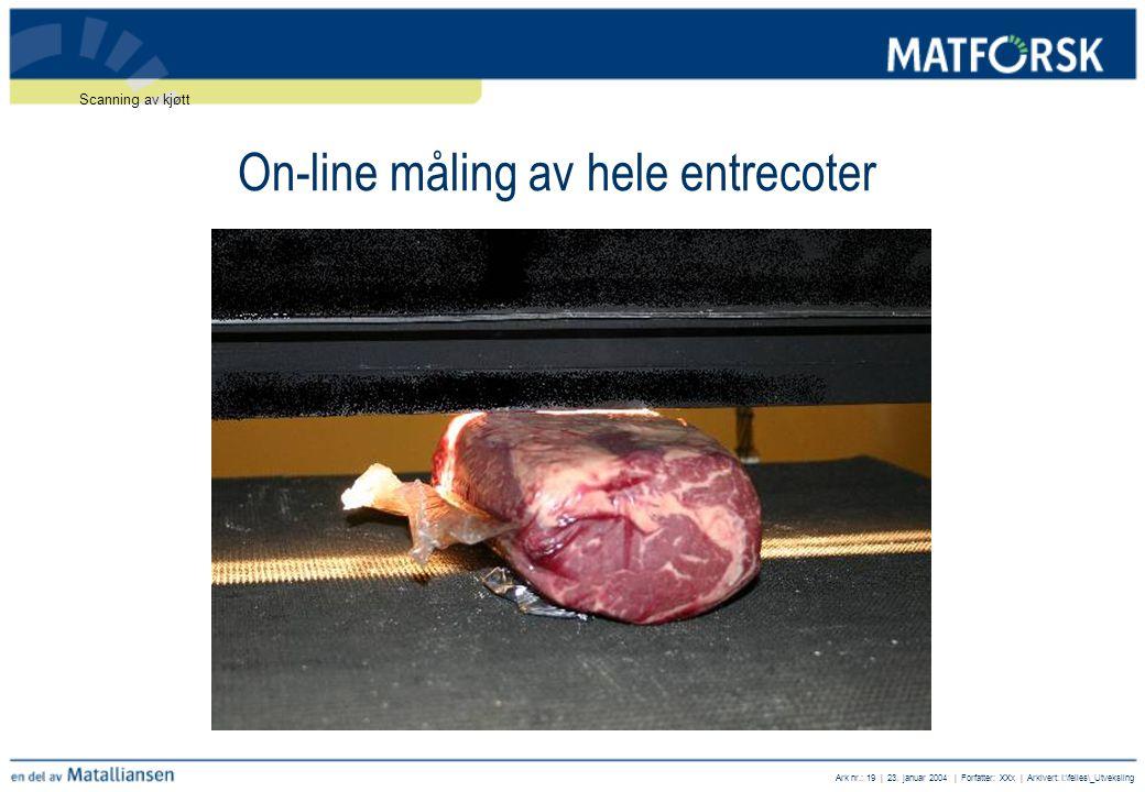 Ark nr.: 19 | 23. januar 2004 | Forfatter: XXx | Arkivert: I:\felles\_Utveksling On-line måling av hele entrecoter Scanning av kjøtt