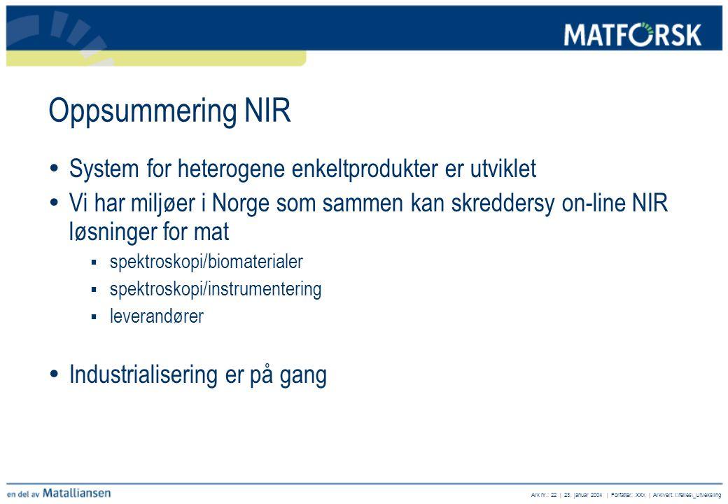 Ark nr.: 22 | 23. januar 2004 | Forfatter: XXx | Arkivert: I:\felles\_Utveksling Oppsummering NIR  System for heterogene enkeltprodukter er utviklet