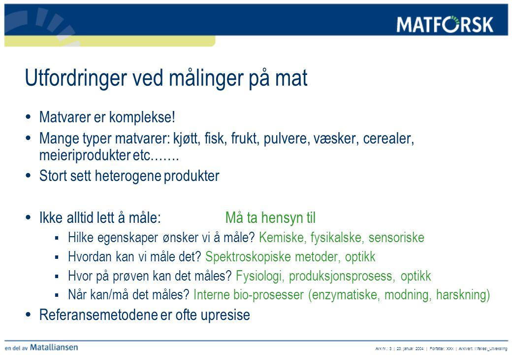 Ark nr.: 3 | 23. januar 2004 | Forfatter: XXx | Arkivert: I:\felles\_Utveksling Utfordringer ved målinger på mat  Matvarer er komplekse!  Mange type