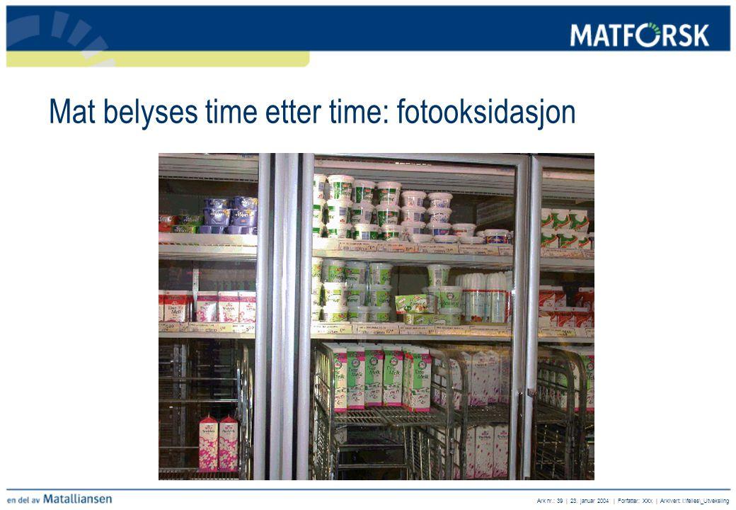 Ark nr.: 39 | 23. januar 2004 | Forfatter: XXx | Arkivert: I:\felles\_Utveksling Mat belyses time etter time: fotooksidasjon