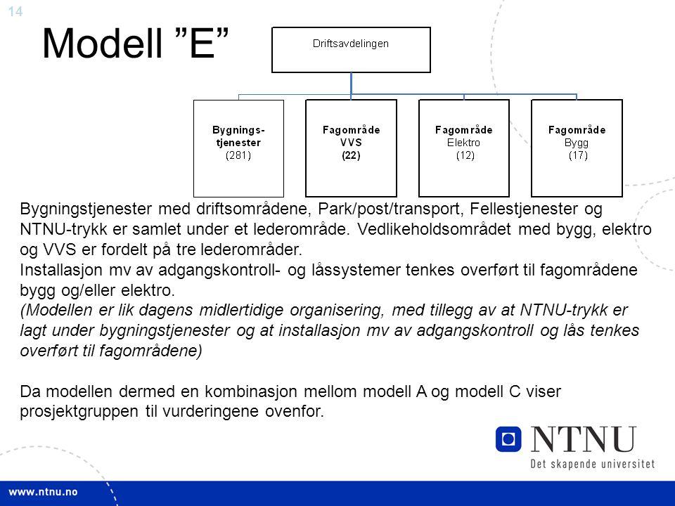 14 Modell E Bygningstjenester med driftsområdene, Park/post/transport, Fellestjenester og NTNU-trykk er samlet under et lederområde.