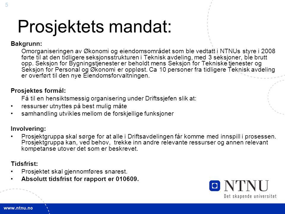 5 Prosjektets mandat: Bakgrunn: Omorganiseringen av Økonomi og eiendomsområdet som ble vedtatt i NTNUs styre i 2008 førte til at den tidligere seksjonsstrukturen i Teknisk avdeling, med 3 seksjoner, ble brutt opp.