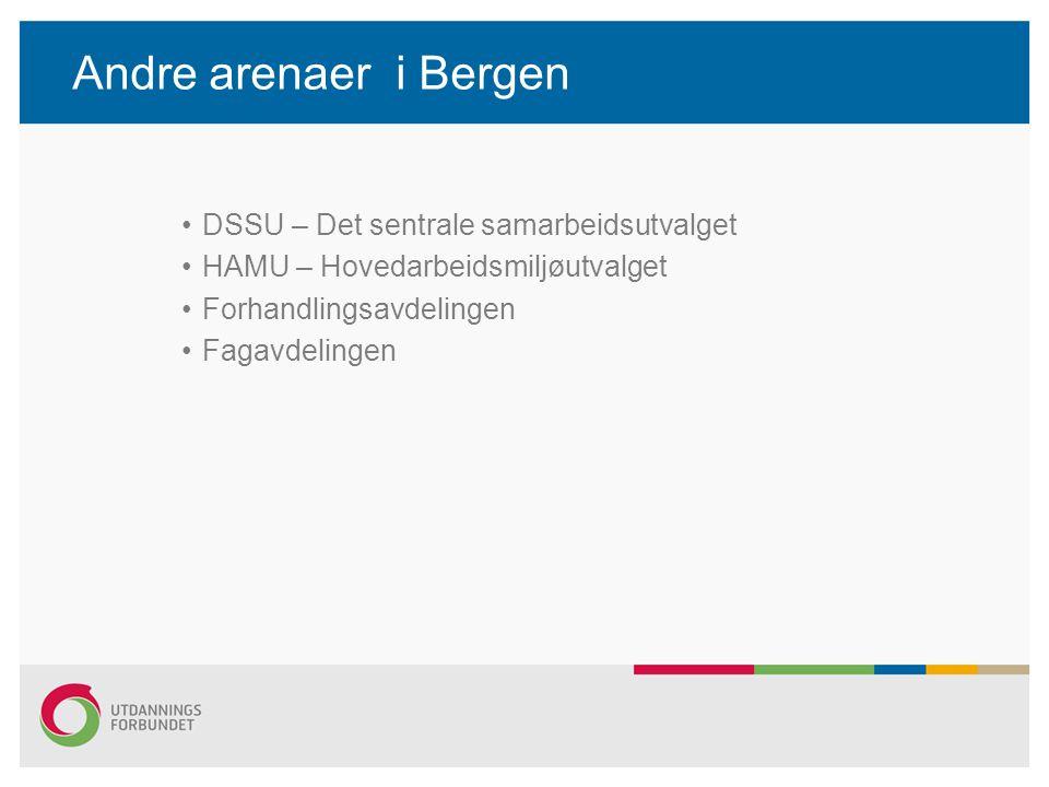 Andre arenaer i Bergen DSSU – Det sentrale samarbeidsutvalget HAMU – Hovedarbeidsmiljøutvalget Forhandlingsavdelingen Fagavdelingen