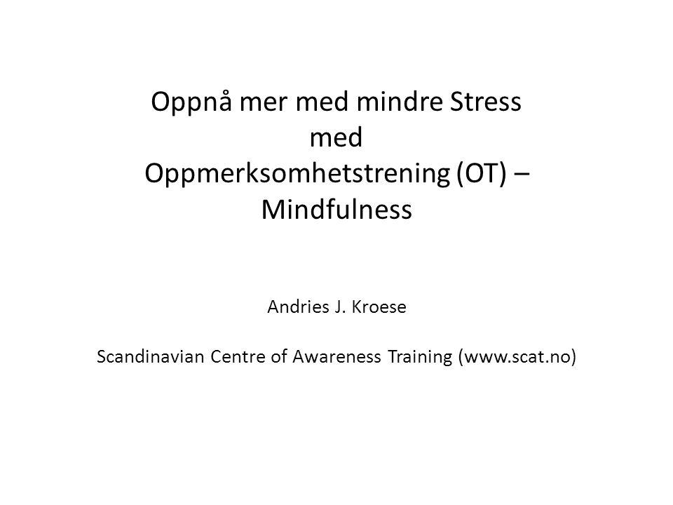 SOA(r+r)L for å møte ytre stress Stopp Observer (se + lytt) Aksepter reflekter + responder: du har et valg.