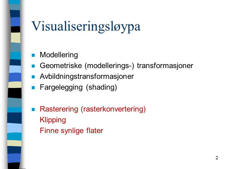 2 Visualiseringsløypa n Modellering n Geometriske (modellerings-) transformasjoner n Avbildningstransformasjoner n Fargelegging (shading) n Rastererin