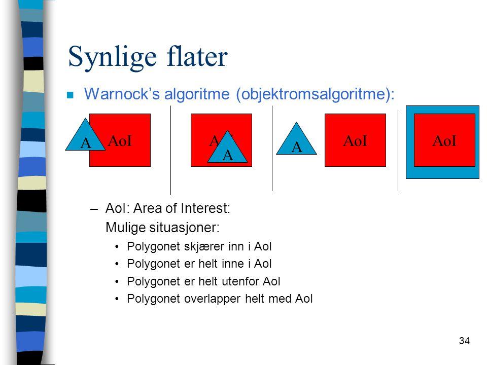 34 Synlige flater n Warnock's algoritme (objektromsalgoritme): –AoI: Area of Interest: Mulige situasjoner: Polygonet skjærer inn i AoI Polygonet er he