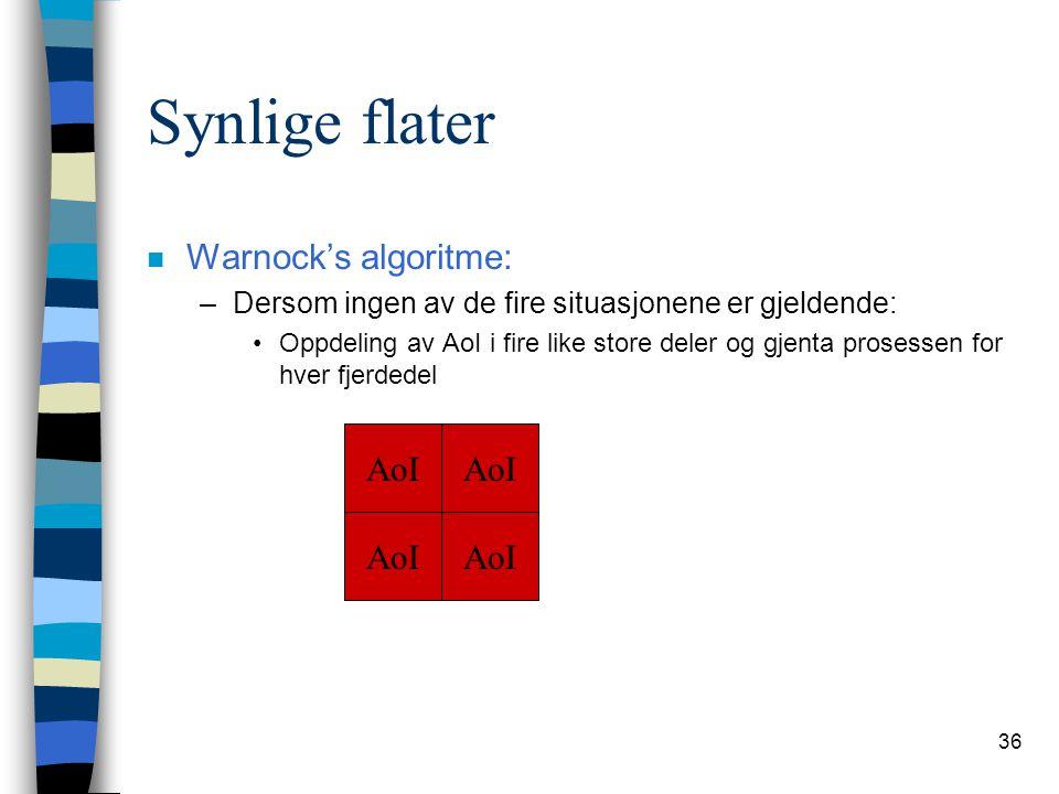 36 Synlige flater n Warnock's algoritme: –Dersom ingen av de fire situasjonene er gjeldende: Oppdeling av AoI i fire like store deler og gjenta proses