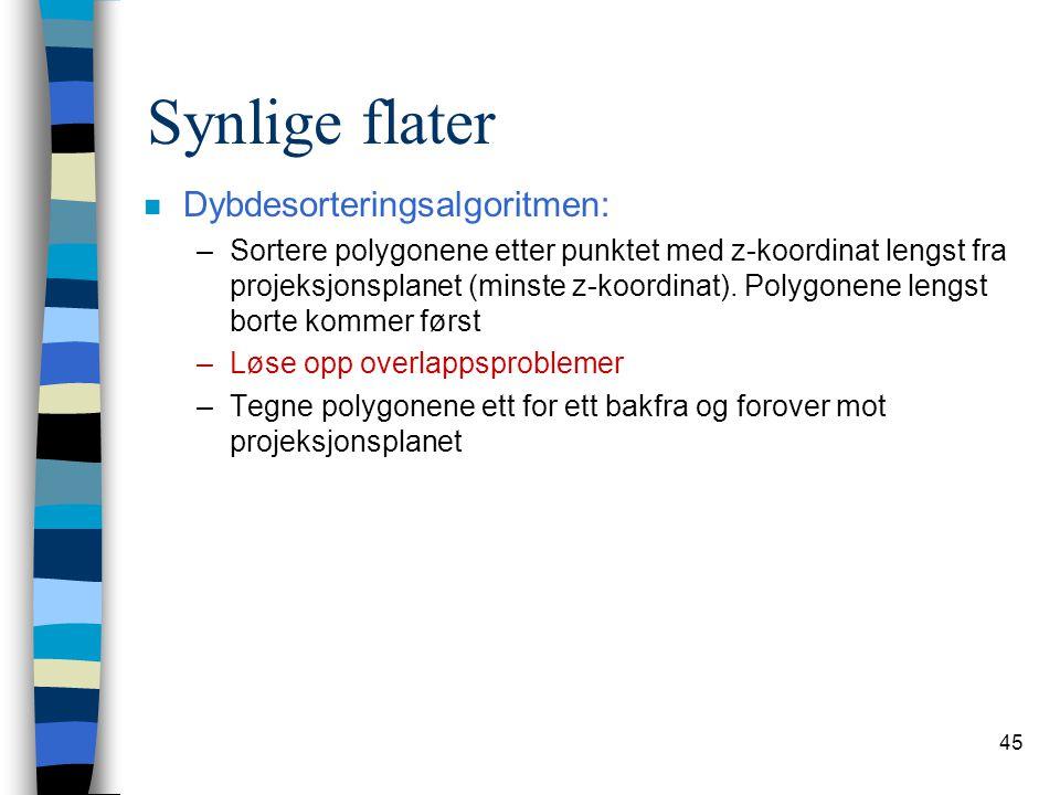 45 Synlige flater n Dybdesorteringsalgoritmen: –Sortere polygonene etter punktet med z-koordinat lengst fra projeksjonsplanet (minste z-koordinat). Po