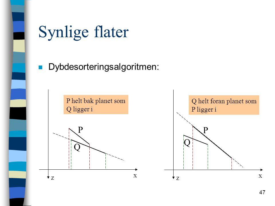 47 Synlige flater n Dybdesorteringsalgoritmen: z x P Q P helt bak planet som Q ligger i z x P Q Q helt foran planet som P ligger i