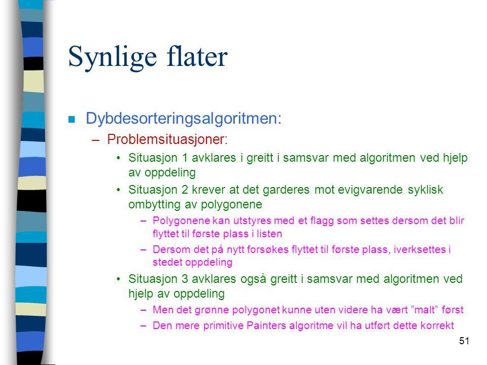 51 Synlige flater n Dybdesorteringsalgoritmen: –Problemsituasjoner: Situasjon 1 avklares i greitt i samsvar med algoritmen ved hjelp av oppdeling Situ