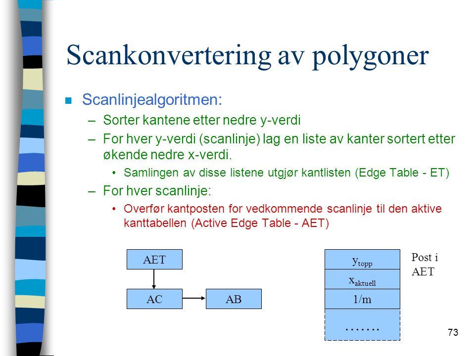 73 Scankonvertering av polygoner n Scanlinjealgoritmen: –Sorter kantene etter nedre y-verdi –For hver y-verdi (scanlinje) lag en liste av kanter sorte