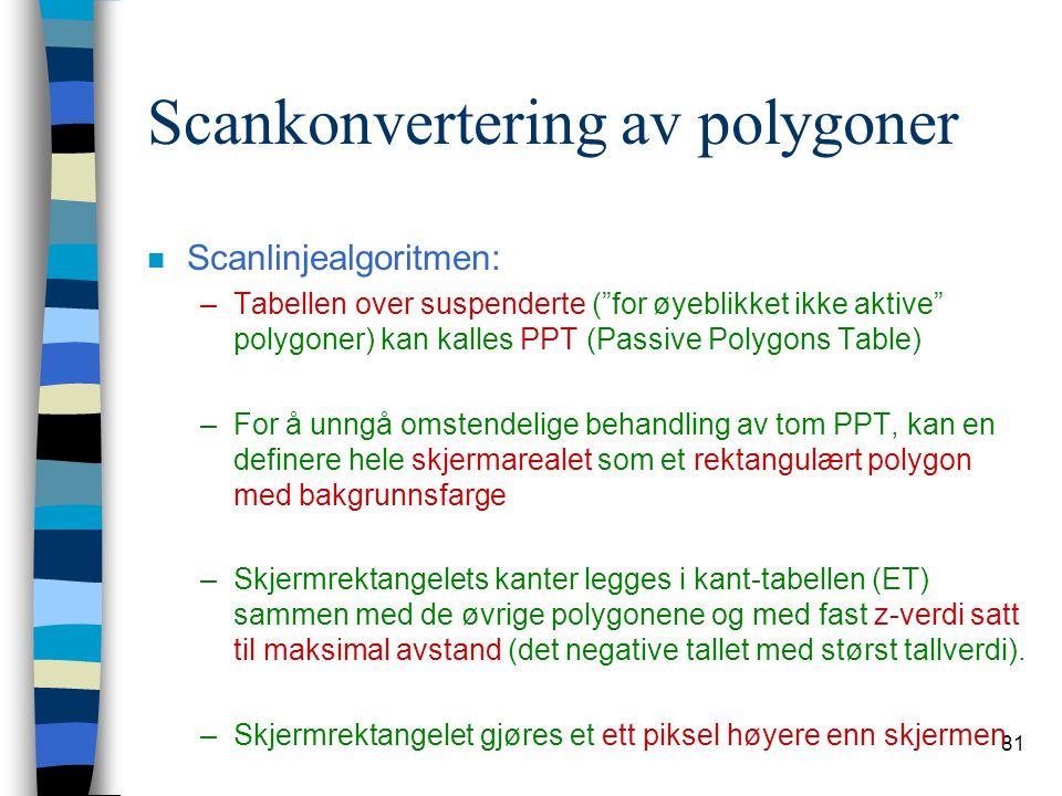 """81 Scankonvertering av polygoner n Scanlinjealgoritmen: –Tabellen over suspenderte (""""for øyeblikket ikke aktive"""" polygoner) kan kalles PPT (Passive Po"""