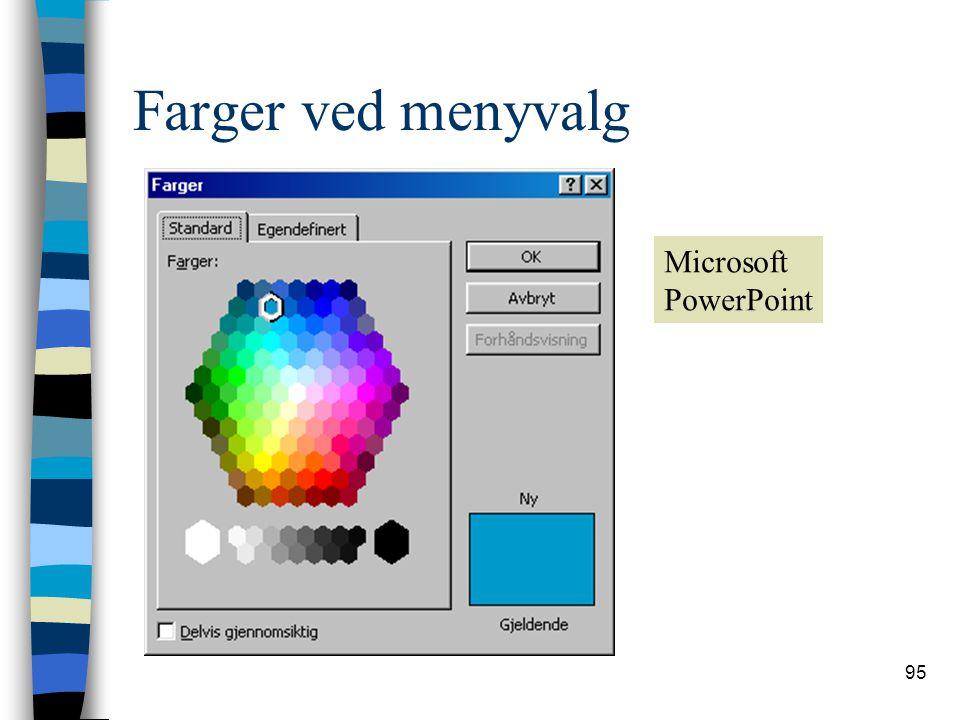 95 Farger ved menyvalg Microsoft PowerPoint