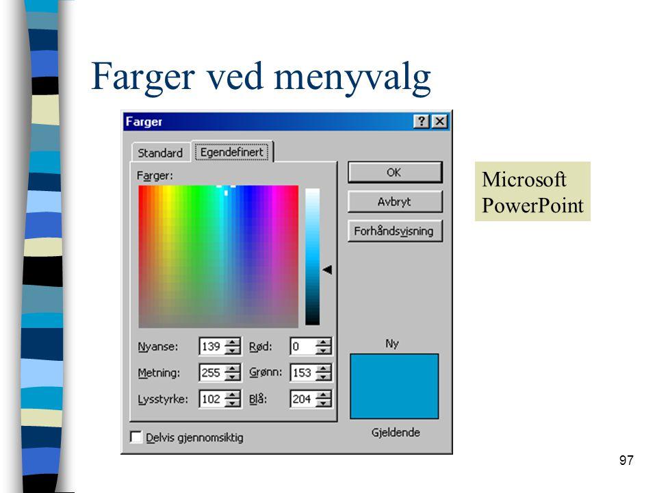 97 Farger ved menyvalg Microsoft PowerPoint