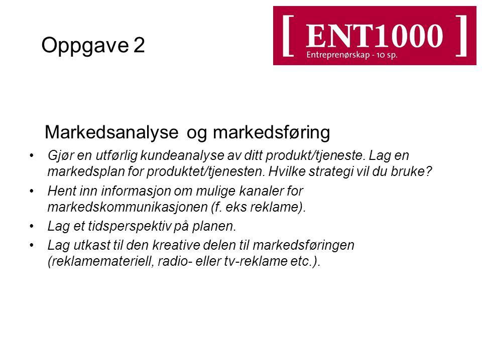 Oppgave 2 Markedsanalyse og markedsføring Gjør en utførlig kundeanalyse av ditt produkt/tjeneste.
