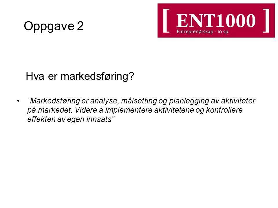 Oppgave 2 Hva er markedsføring.