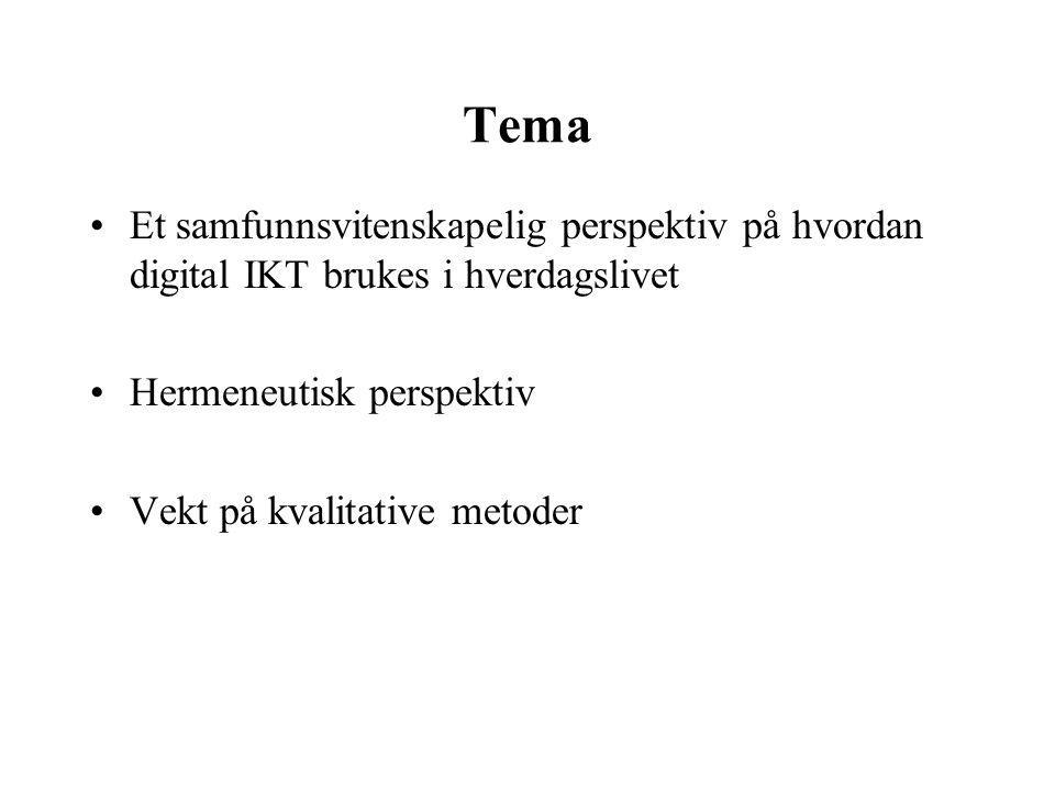 Tema Et samfunnsvitenskapelig perspektiv på hvordan digital IKT brukes i hverdagslivet Hermeneutisk perspektiv Vekt på kvalitative metoder