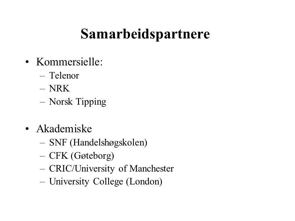 Samarbeidspartnere Kommersielle: –Telenor –NRK –Norsk Tipping Akademiske –SNF (Handelshøgskolen) –CFK (Gøteborg) –CRIC/University of Manchester –Unive