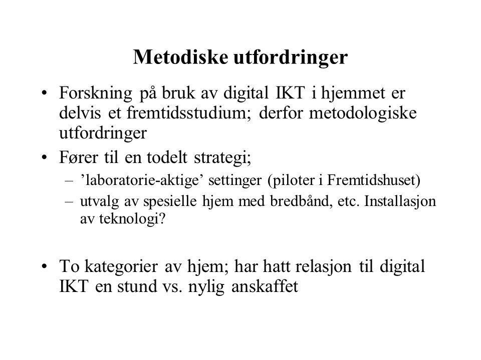 Metodiske utfordringer Forskning på bruk av digital IKT i hjemmet er delvis et fremtidsstudium; derfor metodologiske utfordringer Fører til en todelt strategi; –'laboratorie-aktige' settinger (piloter i Fremtidshuset) –utvalg av spesielle hjem med bredbånd, etc.