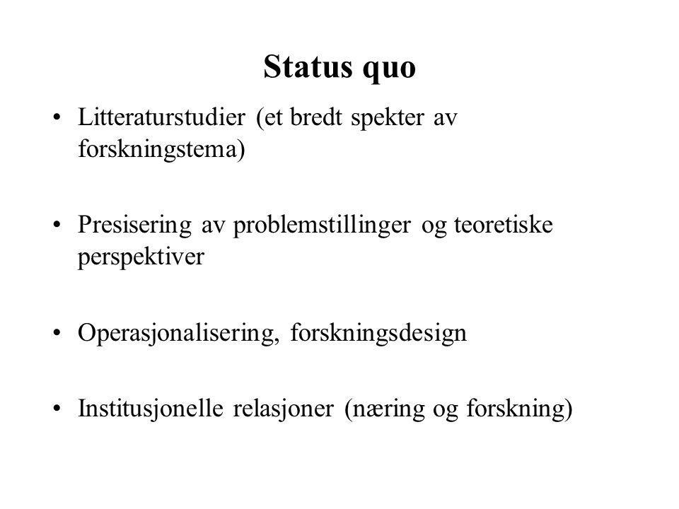 Status quo Litteraturstudier (et bredt spekter av forskningstema) Presisering av problemstillinger og teoretiske perspektiver Operasjonalisering, forskningsdesign Institusjonelle relasjoner (næring og forskning)