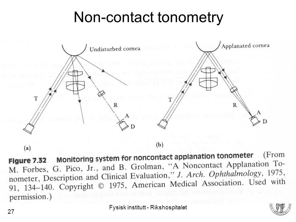 Fysisk institutt - Rikshospitalet 27 Non-contact tonometry
