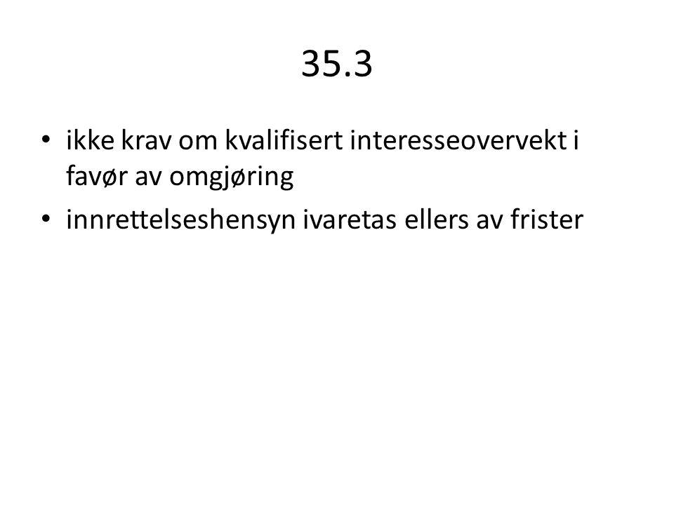 35.3 ikke krav om kvalifisert interesseovervekt i favør av omgjøring innrettelseshensyn ivaretas ellers av frister