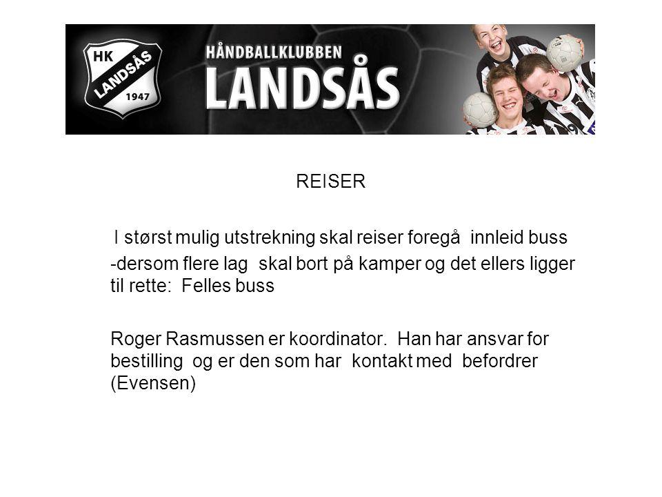 REISER I størst mulig utstrekning skal reiser foregå innleid buss -dersom flere lag skal bort på kamper og det ellers ligger til rette: Felles buss Roger Rasmussen er koordinator.