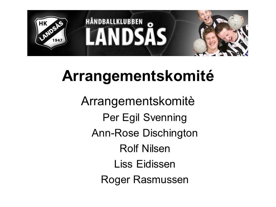 Arrangementskomité Arrangementskomitè Per Egil Svenning Ann-Rose Dischington Rolf Nilsen Liss Eidissen Roger Rasmussen