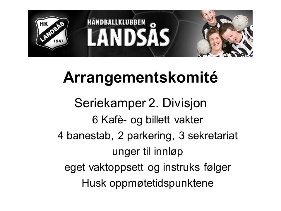 Arrangementskomité Seriekamper 2.