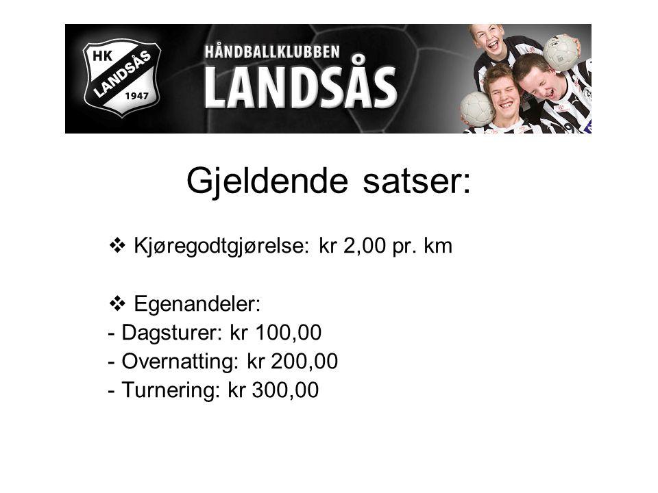 Gjeldende satser:  Kjøregodtgjørelse: kr 2,00 pr.