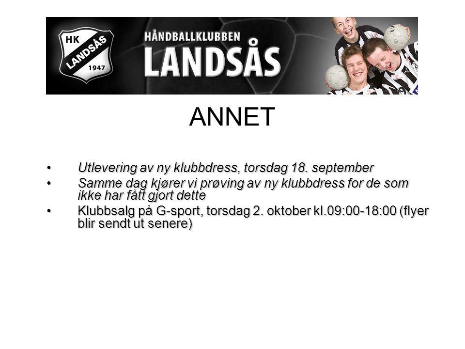 ANNET Utlevering av ny klubbdress, torsdag 18. septemberUtlevering av ny klubbdress, torsdag 18.