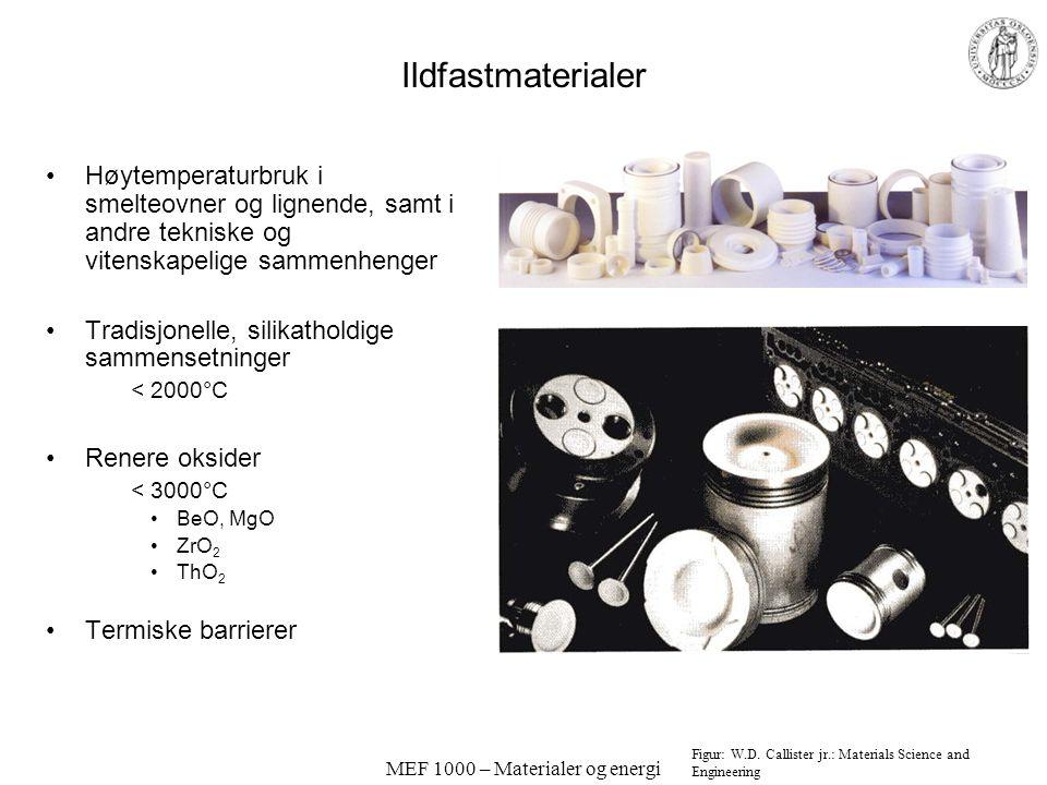 MEF 1000 – Materialer og energi Ildfastmaterialer Høytemperaturbruk i smelteovner og lignende, samt i andre tekniske og vitenskapelige sammenhenger Tradisjonelle, silikatholdige sammensetninger < 2000°C Renere oksider < 3000°C BeO, MgO ZrO 2 ThO 2 Termiske barrierer Figur: W.D.