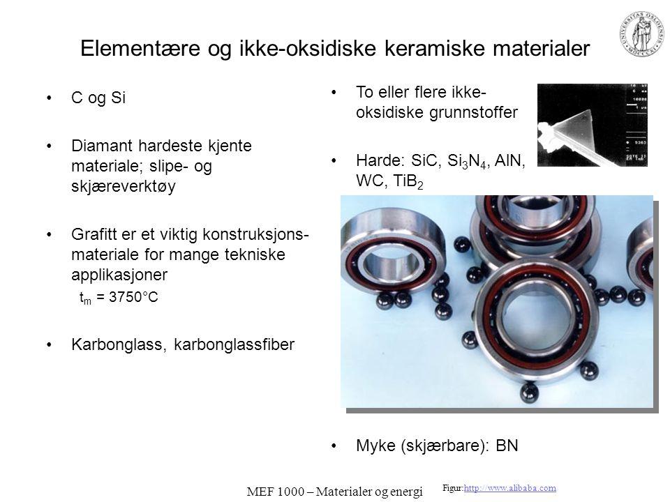 MEF 1000 – Materialer og energi Elementære og ikke-oksidiske keramiske materialer C og Si Diamant hardeste kjente materiale; slipe- og skjæreverktøy Grafitt er et viktig konstruksjons- materiale for mange tekniske applikasjoner t m = 3750°C Karbonglass, karbonglassfiber To eller flere ikke- oksidiske grunnstoffer Harde: SiC, Si 3 N 4, AlN, WC, TiB 2 Myke (skjærbare): BN Figur:http://www.alibaba.comhttp://www.alibaba.com