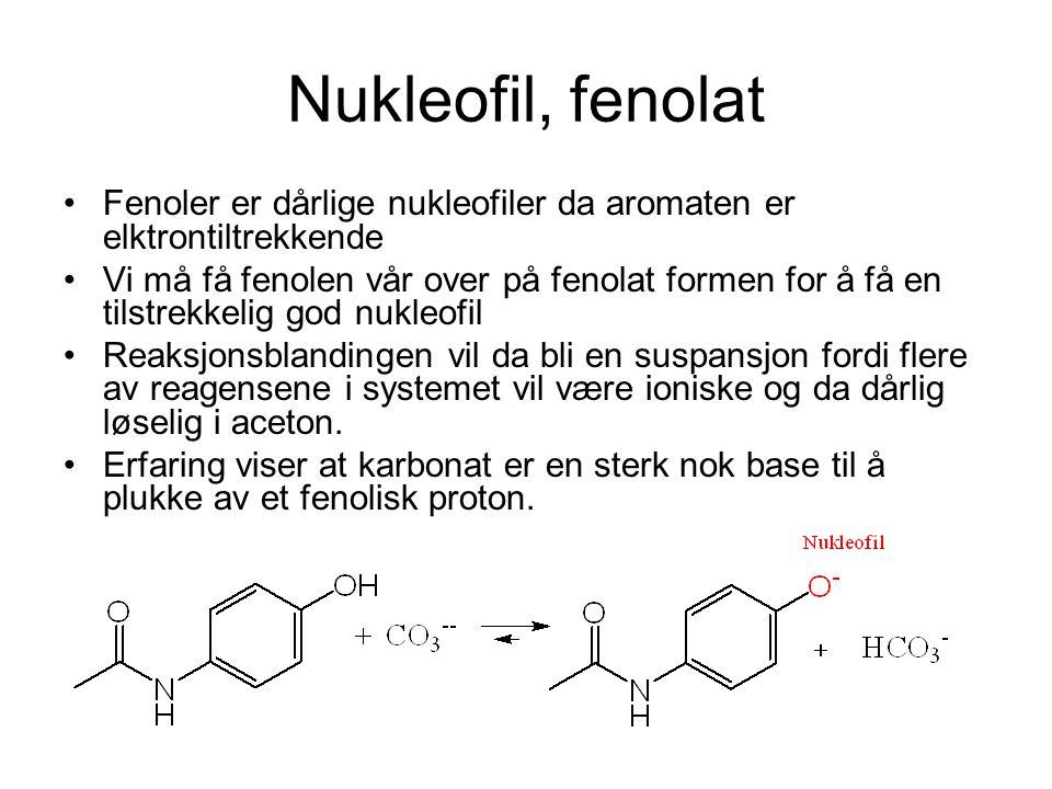 Nukleofil, fenolat Fenoler er dårlige nukleofiler da aromaten er elktrontiltrekkende Vi må få fenolen vår over på fenolat formen for å få en tilstrekk