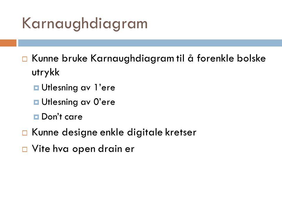 Karnaughdiagram  Kunne bruke Karnaughdiagram til å forenkle bolske utrykk  Utlesning av 1'ere  Utlesning av 0'ere  Don't care  Kunne designe enkl
