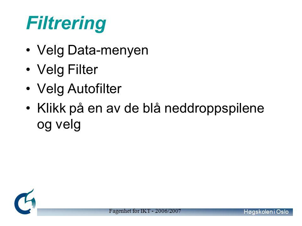Høgskolen i Oslo Fagenhet for IKT - 2006/2007 Filtrering Velg Data-menyen Velg Filter Velg Autofilter Klikk på en av de blå neddroppspilene og velg