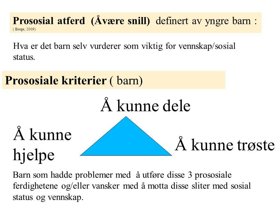 Prososial atferd (Åvære snill) definert av yngre barn : ( Borge, 2009) Prososiale kriterier ( barn) Å kunne dele Å kunne trøste Å kunne hjelpe Barn so