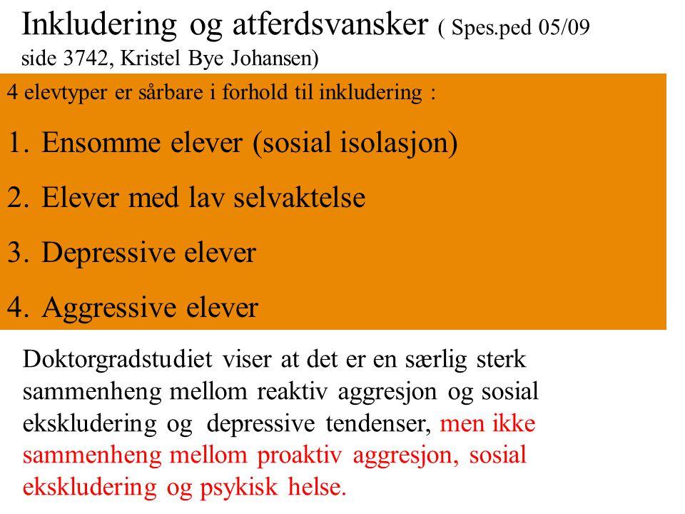 Inkludering og atferdsvansker ( Spes.ped 05/09 side 3742, Kristel Bye Johansen) 4 elevtyper er sårbare i forhold til inkludering : 1.Ensomme elever (s
